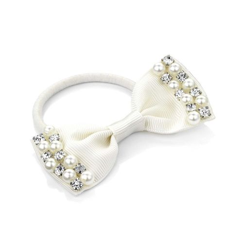 Pearl and Crystal Design Bow Hair Elastic Bobble